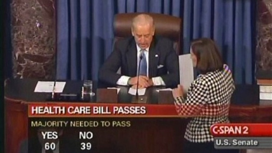 This image from C-SPAN shows Vice President Biden announcing the result of the final vote on health care reform in the Senate Dec. 24. (AP Photo)