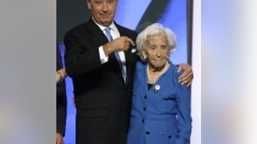 Then vice presidential nominee Sen. Joe Biden with his mother. August 27,2008. (AP Photo)