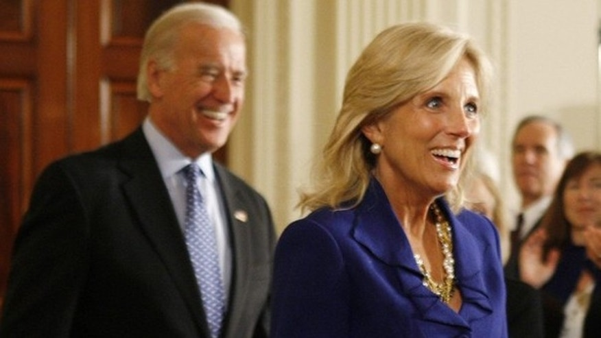 Vice President Biden and his wife Jill Biden arrive at an event where President Obama honored educators for awards in mathematics and science teaching. (Reuters)