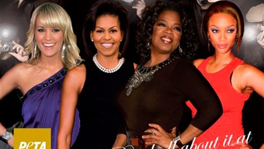 This image released by People for the Ethical Treatment of Animals shows a new PETA ad that features Carrie Underwood, first lady Michelle Obama, Oprah Winfrey and Tyra Banks.  (AP)