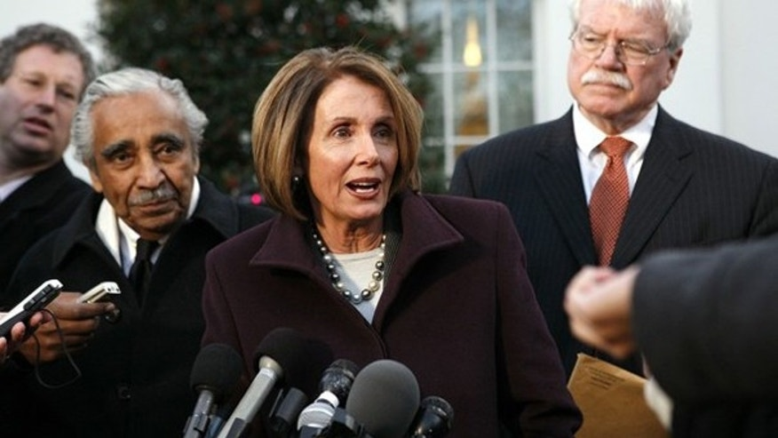 House Speaker Nancy Pelosi talks to reporters after a meeting with President Obama and House Democrats at the White House Jan. 6. (Reuters Photo)