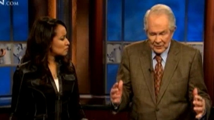 Pat Robertson, right, speaks about the earthquake in Haiti on the Christian Broadcasting Network. (YouTube)