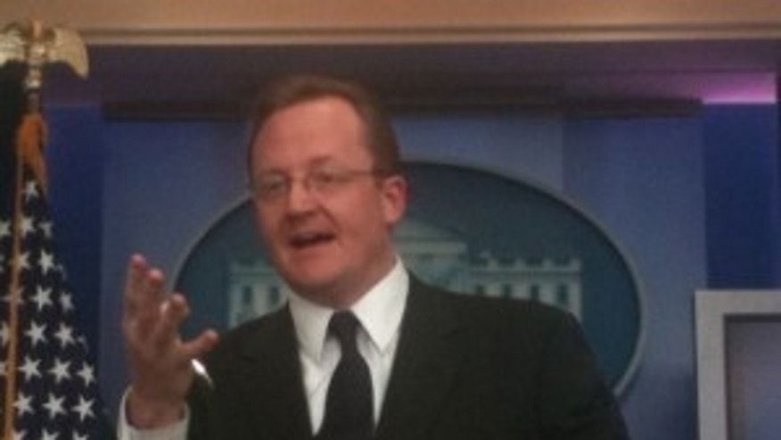 White House Press Secretary Robert Gibbs during his daily briefing (Photo by Fox News)