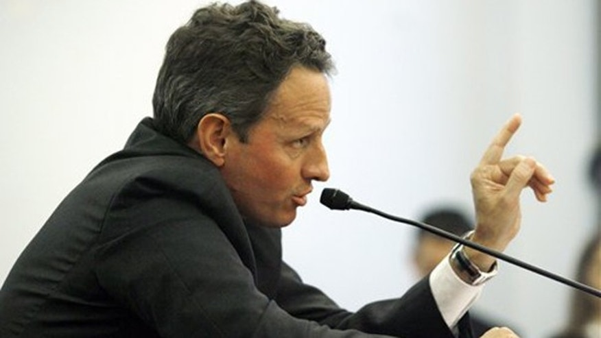 FILE: Treasury Secretary Timothy Geithner testifies on Capitol Hill on Nov. 19 to the Joint Economic Committee hearing on financial regulatory reform. (AP)