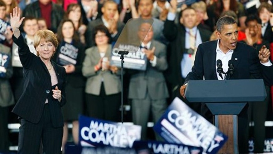 Sunday: President Obama speaks at a campaign stop for Democratic Senate candidate, Massachusetts Attorney General Martha Coakley, at Northeastern University in Boston. (AP Photo)