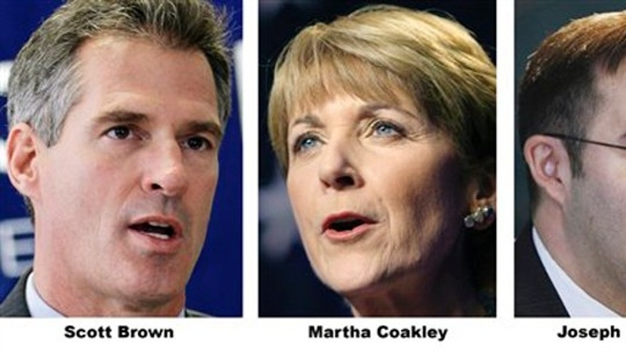 This combo made from file photos shows Republican candidate, Massachusetts State Senator Scott Brown; Democratic candidate, Massachusetts Attorney General Martha Coakley and Joseph L. Kennedy. (AP)