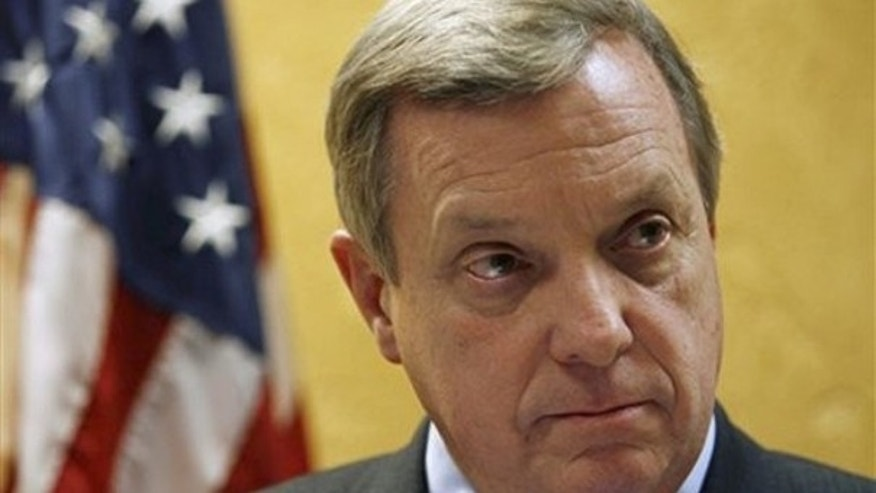 In this Jan. 9, 2009 file photo, Sen. Dick Durbin talks with reporters in Chicago. (AP Photo)
