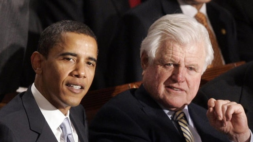 FILE: Sens. Ted Kennedy and Barack Obama sit together at President Bush's State of the Union address on Jan. 23, 2007. (AP)