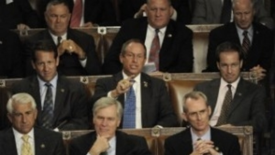"Rep. Joe Wilson (R-SC) shouts ""You lie"" during President Obama's healthcare address to a Joint Session of Congress on Sept. 9, 2009 (AP Photo/The Washington Post, Melina Mara)"