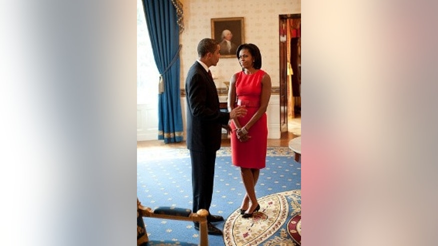 President Obama and First Lady Michelle Obama in the Blue Room (White House photo)