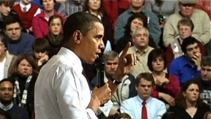 President Obama speaks to the audience at town hall in Nashua, NH (Fox Photo)