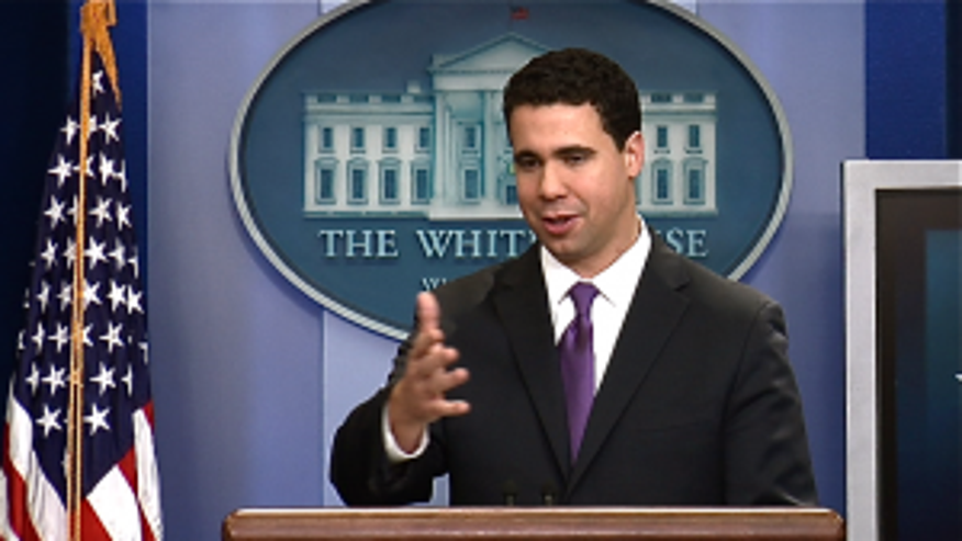 Deputy White House Spokesman Bill Burton at his first briefing in the White House briefing room (Fox Photo)