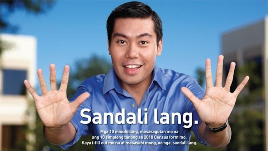 A U.S. Census Bureau advertisement in Tagalog, a language spoken in the Philippines. The bureau is planning to advertise the 2010 U.S. census in 28 languages, including Yiddish, Khmer, and Urdu (U.S. Census Bureau).