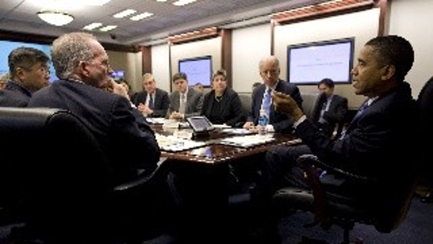President Barack Obama and Vice President Joe Biden lead a Cabinet-level exercise in the Situation Room of the White House, Feb. 3, 2010, to discuss preparedness, crisis response, and incident-management procedures for the upcoming Vancouver Olympics. (Official White House Photo by Pete Souza)