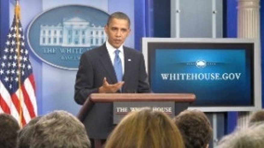 President Obama in the White House Briefing Room (Fox Photo)