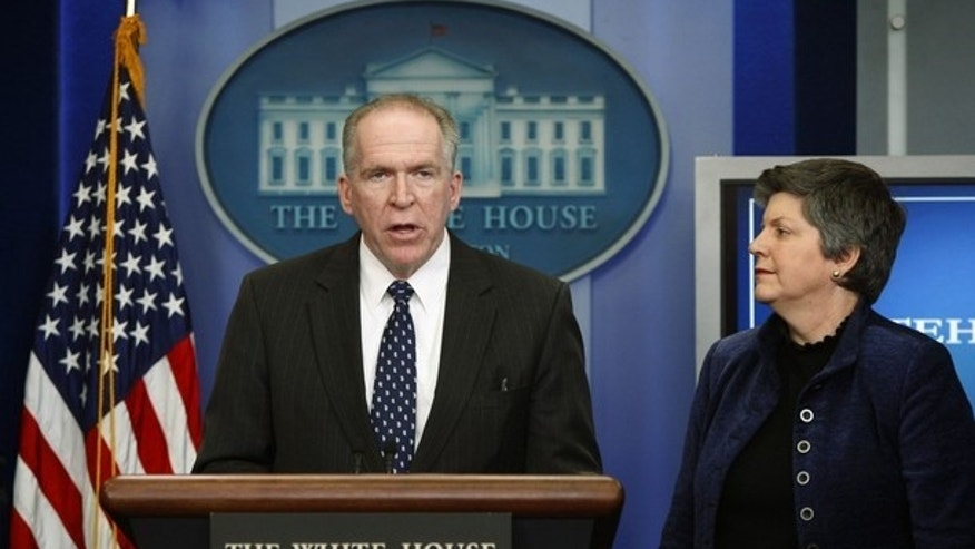FILE: Assistant to the President for Counterterrorism and Homeland Security John Brennan briefs reporters at the White House on Jan. 7, 2010, as Secretary of Homeland Security Janet Napolitano looks on. (REUTERS)