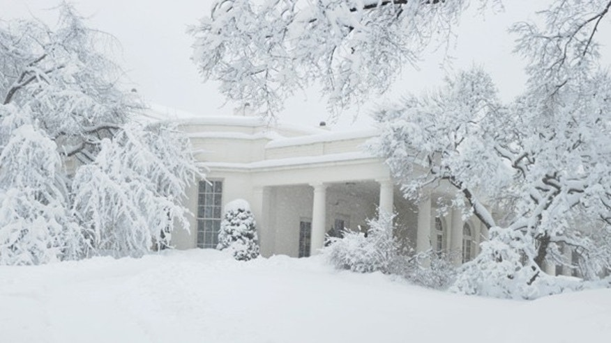 Feb. 6, 2011: The Oval Office at the White House in Washington is covered in snow.