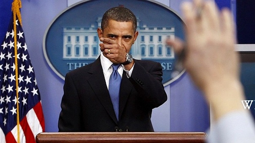 Feb. 9: President Obama gives an impromptu news conference in the briefing room of the White House.