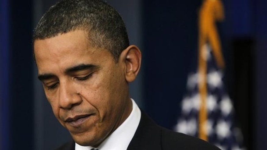 President Barack Obama is pictured at an impromptu news conference in the Brady Press Briefing Room of the White House in Washington, February 9, 2010. (Reuters)