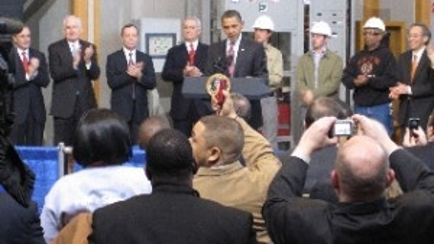 President Obama announces loan guarantees for a new nuclear plant. Feb 16, 2010/Pool Photo