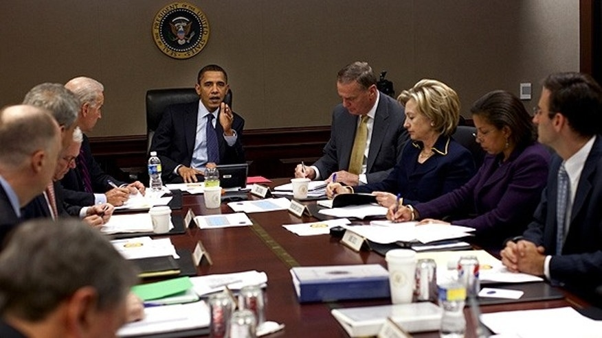 Nov. 23, 2009: President Obama holds a meeting on Afghanistan in the Situation Room. (White House)