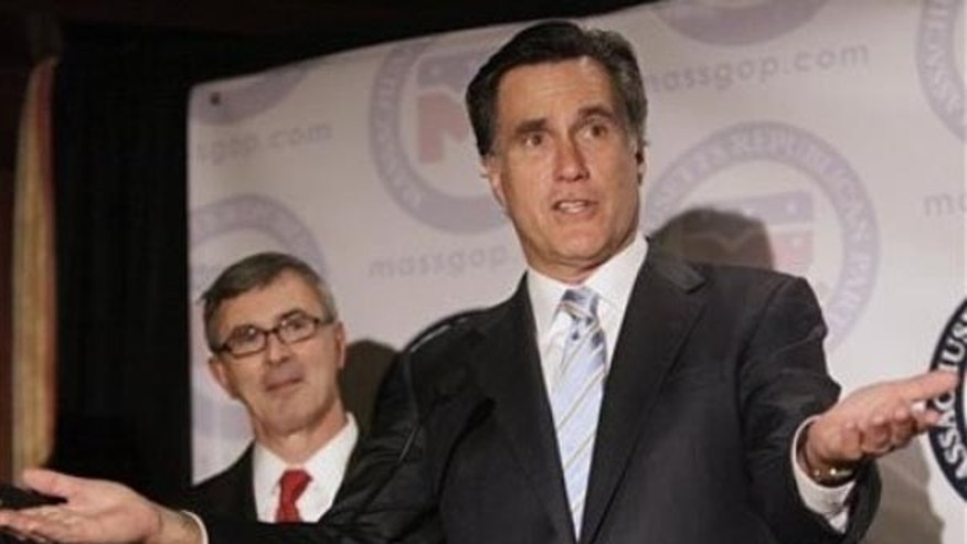 Former Massachusetts Republican Gov. Mitt Romney addresses a crowd at a Republican fundraiser at a hotel in Boston, Tuesday, Oct. 27, 2009. (AP)