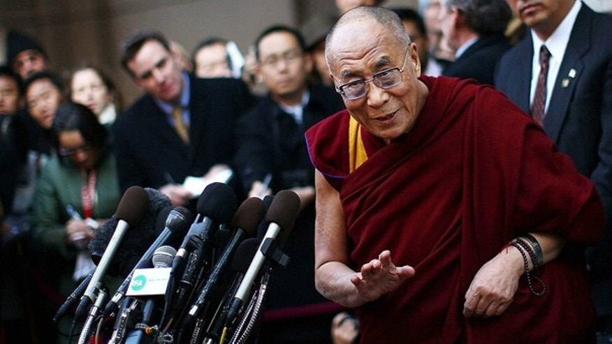 Feb. 18: The Dalai Lama speaks outside his hotel in Washington after meeting with President Obama and Secretary of State Hillary Clinton.