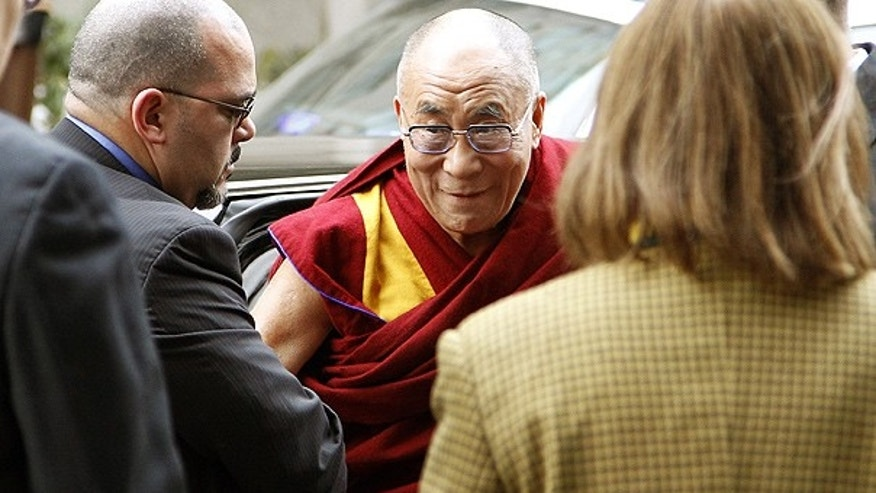 Feb. 17: The Dalai Lama is greeted as he arrives in Washington.