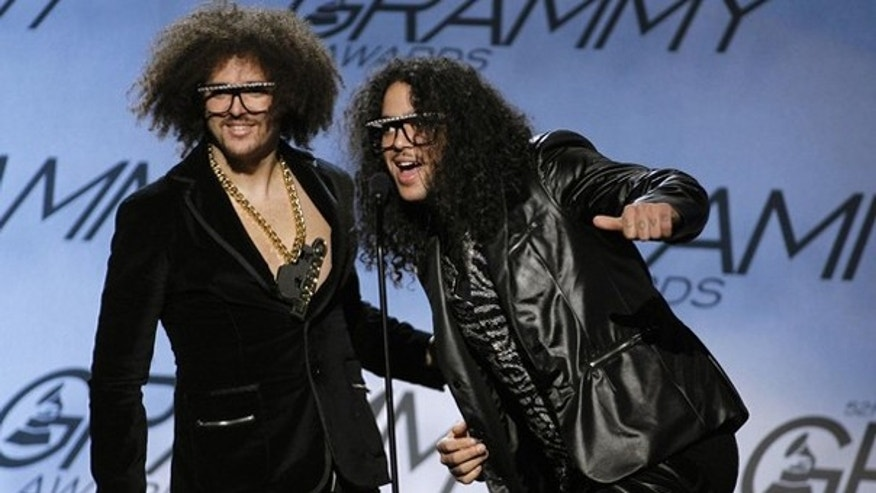 Stefan Gordy (L) and Skyler Gordy from the electro hop group LMFAO take the stage as presenters during the pre-telecast of the 52nd annual Grammy Awards in Los Angeles January 31, 2010. (Reuters)