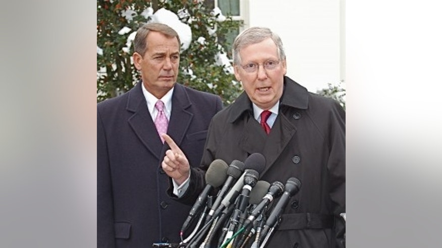House Minority Leader John Boehner and Senate Minority Leader Mitch McConnell speak to reporters after meeting with the President at the White House. Feb 9, 2010/Fox Photo