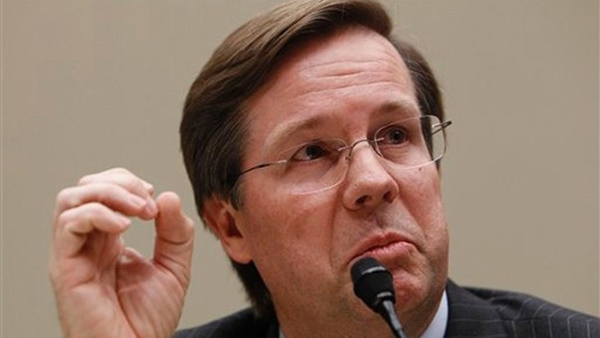 James E. Lentz, president and chief operating officer, Toyota Motor Sales, USA,Inc., testifies on Capitol Hill in Washington, Tuesday, Feb. 23, 2010, before the House Oversight and Investigations subcommittee hearing on Toyota. (AP)