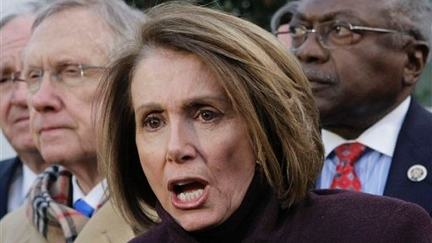 House Speaker Nancy Pelosi, accompanied by Senate Majority Leader Harry Reid, and House Majority Whip James Clyburn, speaks with reporters outside the White House in Washington, Thursday, Feb. 25, 2010, at the end of a day of meetings with President Obama at Blair House on health care reform. (AP)