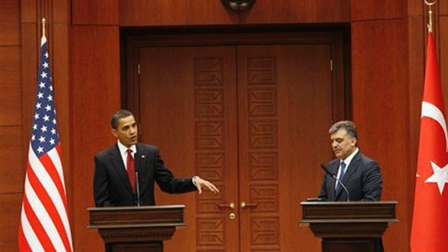 In this April 6, 2009 file photo, President Barack Obama, left, and Turkey's President Abdullah Gul make a joint statement at Cankaya Palace in Ankara, Turkey. (AP)
