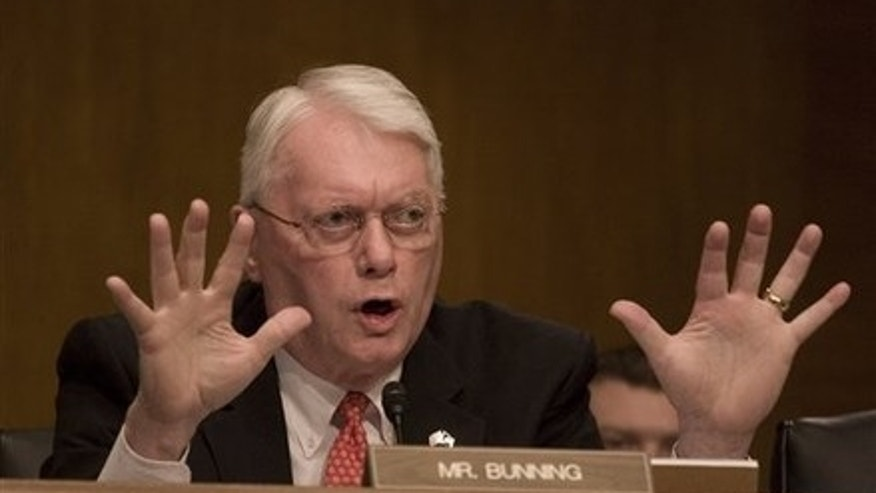 October 20, 2009: Senate Banking Committee member Sen. Jim Bunning, R-Ky. gestures on Capitol Hill during a hearing on the housing market. (AP Photo)