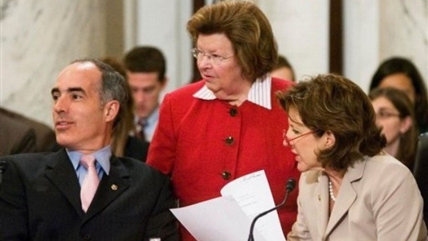 FILE: Maryland Democratic Sen. Barbara Mikulski stands by Sens. Robert Casey, D-Pa., and Kay Hagan D-N.C., at a Senate Health, Education, Labor and Pensions Committee hearing on July 13, 2009, in Washington.  (AP Photo)