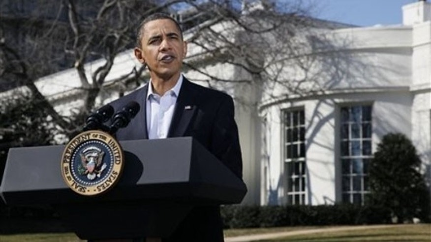 President Obama speaks to the media about the recent earthquake in Chile outside the White House Feb. 27. (AP Photo)