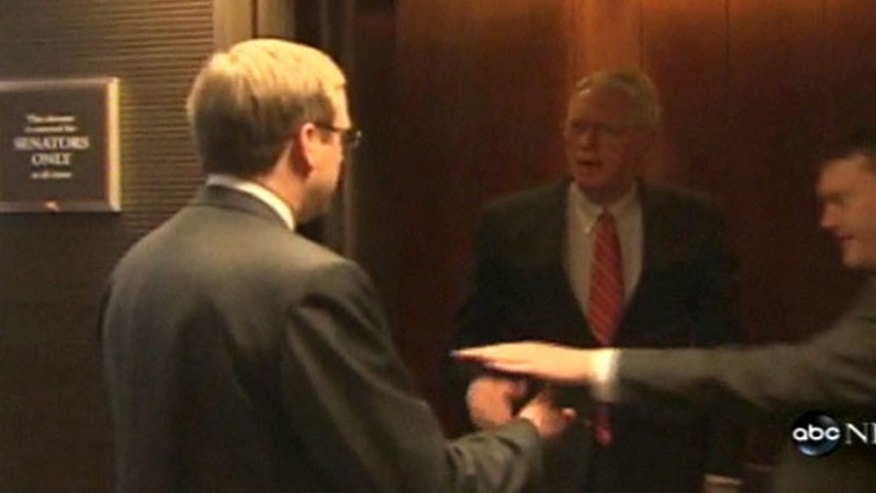 Sen. Jim Bunning is shown here being questioned by an ABC News reporter in an elevator on Capitol Hill Monday. (ABC News)