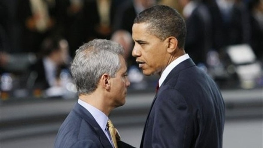 In this Sept. 25, 2009, file photo, President Obama speaks with White House Chief of Staff Rahm Emanuel at the G-20 summit in Pittsburgh. (AP Photo)