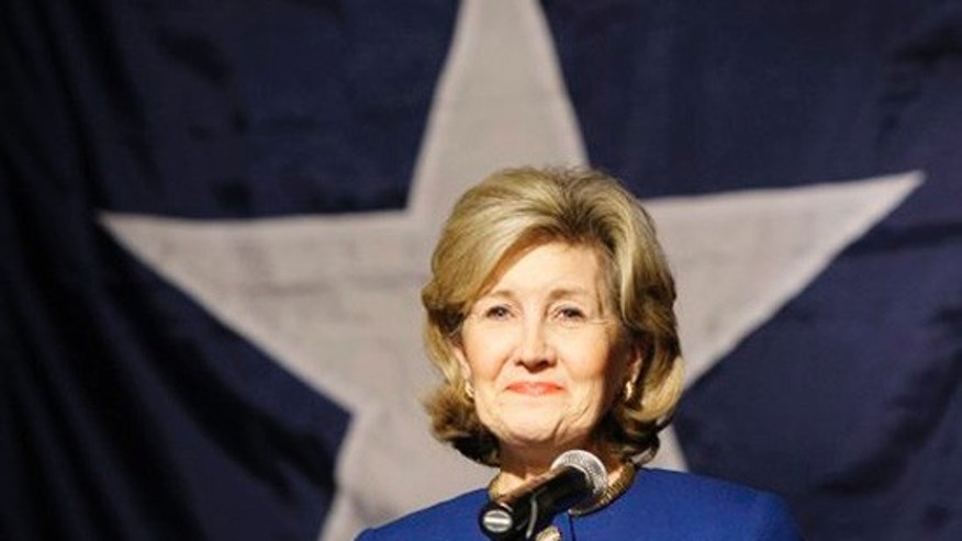 Sen. Kay Bailey Hutchison, R-Texas, smiles as supporters of her Texas gubernatorial bid cheer her after she delivers her concession speech in Dallas, Tuesday, March 2, 2010. (AP)