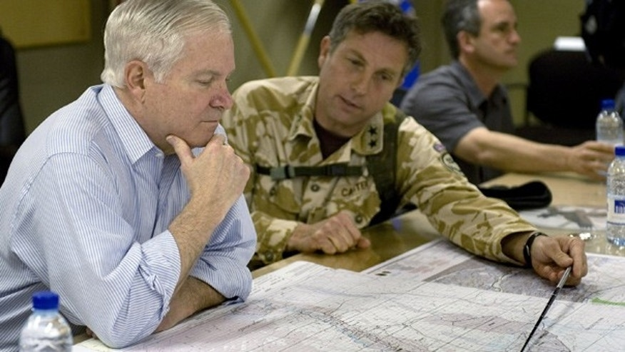 Mar. 9: Secretary of Defense Robert Gates meets with RC South Commander Major General Nick Carter at Kandahar Air Base.