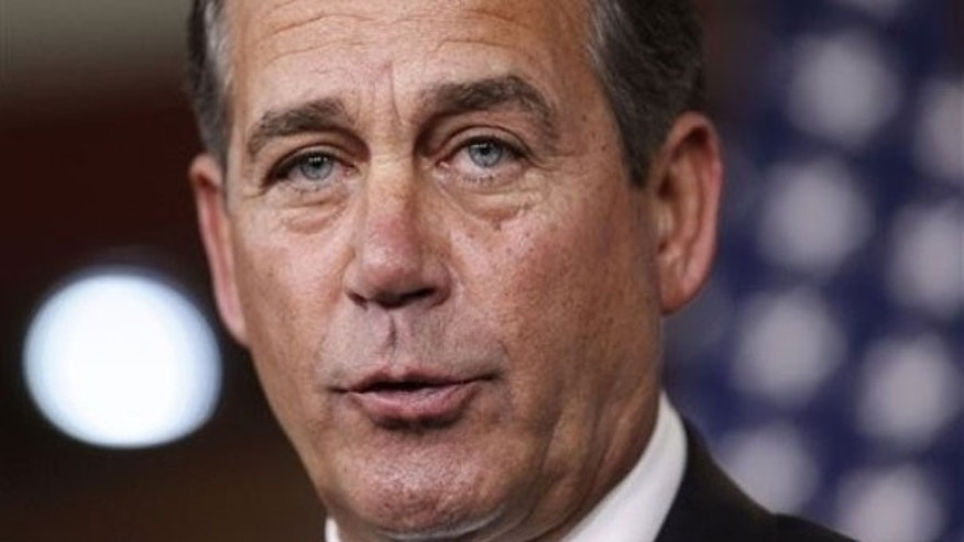 March 4: House Minority Leader John Boehner of Ohio speaks during a news conference on Capitol Hill (AP).