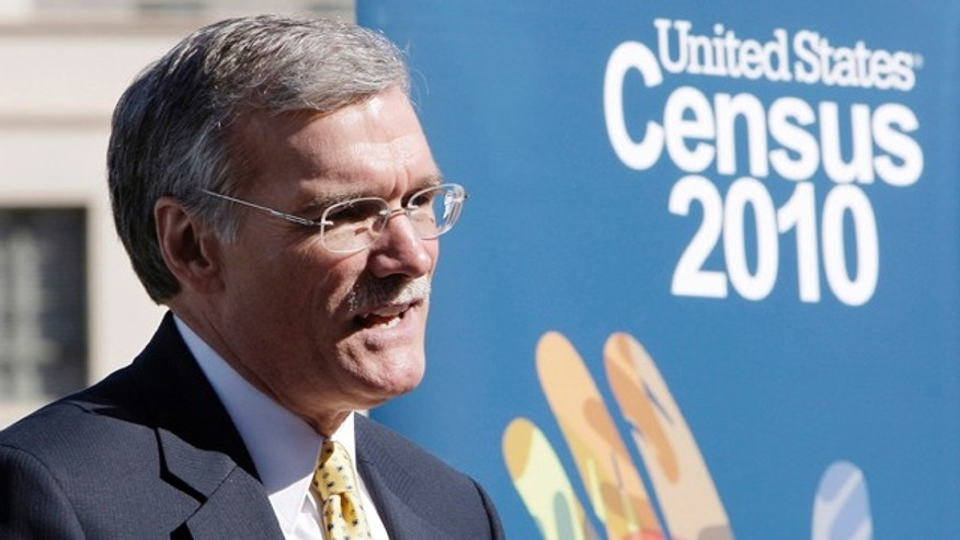 March 15, 2010: Census Bureau Director Robert Groves talks about filling out the 2010 Census forms during a news conference in Phoenix.