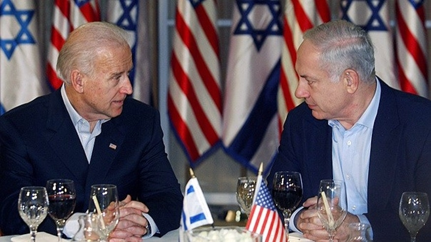 Mar. 9: Vice President Joe Biden sits with Israeli Prime Minister Benjamin Netanyahu before a dinner in Jerusalem.