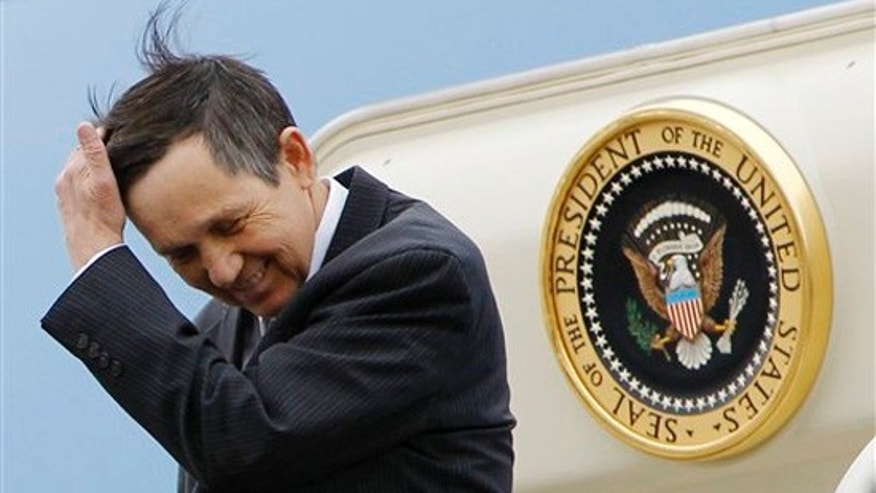 Monday: Rep. Dennis Kucinich, D-Ohio, steps off Air Force One at Cleveland-Hopkins International Airport in Cleveland, to accompany President Obama to Strongsville, Ohio, for a health care rally. (AP)