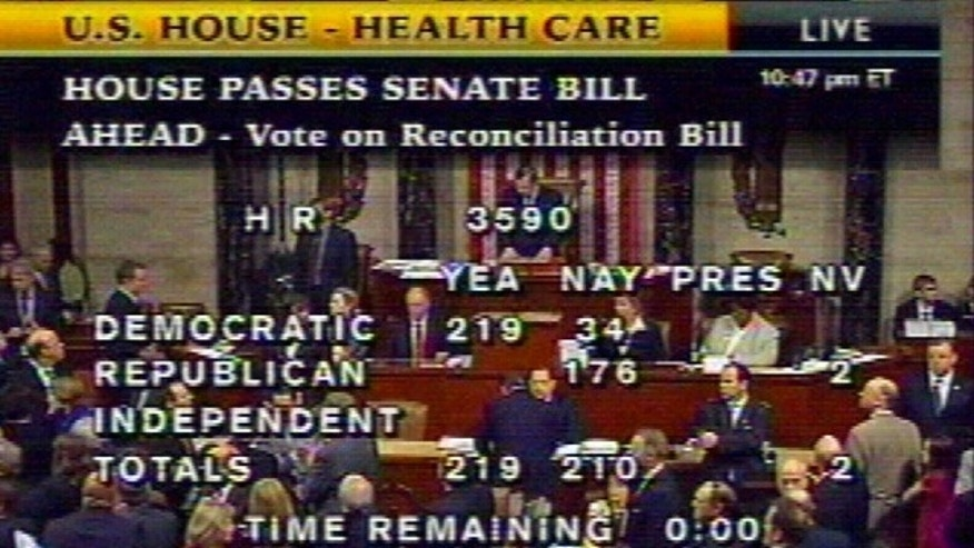 Mar. 21: In this image made from video, the vote tally for House Resolution 3590, the Senate health care bill, is shown.