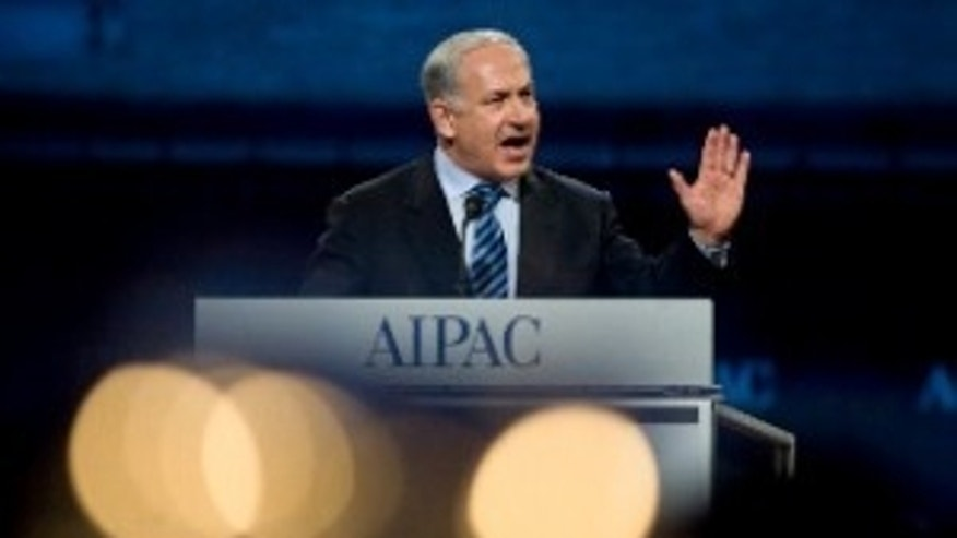 Israeli Prime Minister Benjamin Netanyahu addresses AIPAC (AP Photo)
