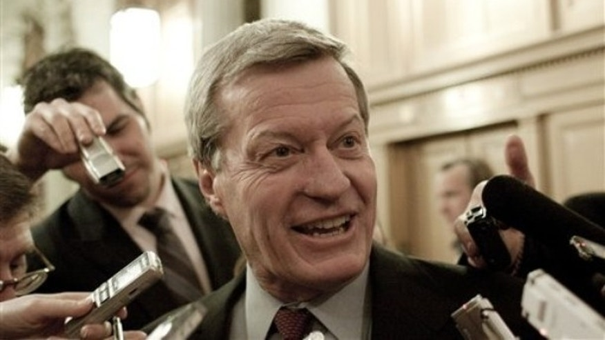 Senate Finance Committee Chairman Max Baucus, D-Mont., arrives to vote on the Jobs Bill cloture on Capitol Hill in Washington, Monday, Feb. 22, 2010.  (AP Photo/Harry Hamburg)