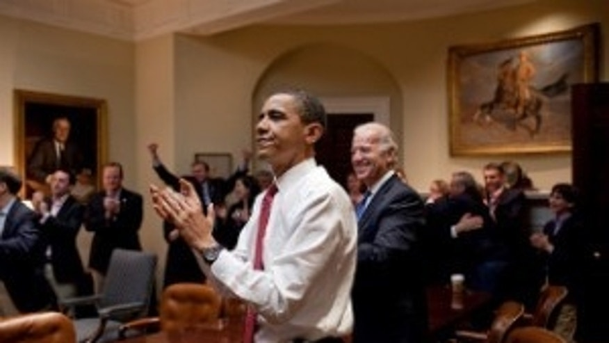 President Obama reacts to the House passing health care reform legislation. (Official White House Photo by Pete Souza)
