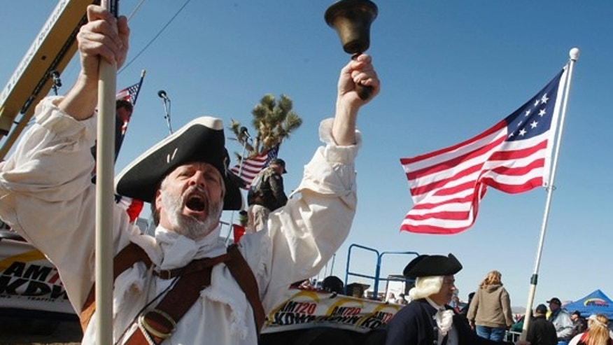 William Temple attends a Tea Party rally in the desert outside Searchlight, Nev. Saturday, March 27, 2010. (AP)