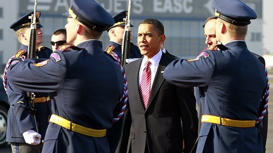 Apr. 8: President Obama arrives at Prague Ruzyne Airport to sign the START treaty with Russian President Dmitry Medvedev.